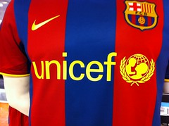 UNICEF logo on Barcelona football shirts