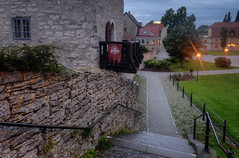 Visby Cathedral Park I (henriksundholm.com) Tags: visby medieval worldheritage urban city cobblestone path grass lawn brick stone houses buildings flag advertisement trees lamps lights landscape balcony street bench gotland sverige sweden hdr