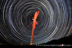 Wind Turbine ... startrails (Ken Scott) Tags: sky usa windmill night stars timelapse michigan traversecity windturbine leelanau nearthe45thparallel
