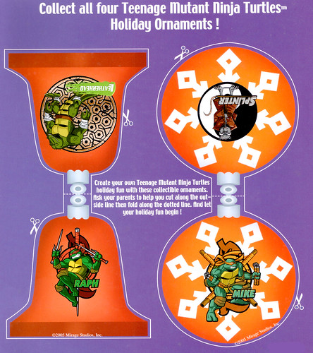 """""""Teenage Mutant Ninja Turtles"""" Holiday Coloring Book by Bendon Publishing / Coloralot Books  { Jumbo edition }  Back  Cover ornaments  (( 2005 ))"""