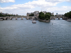 Paris (russelljsmith) Tags: city travel bridge blue vacation sky holiday paris france river boat big europe weekend 2009 77285mm