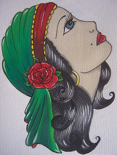 woman tattoo. gypsy woman tattoo