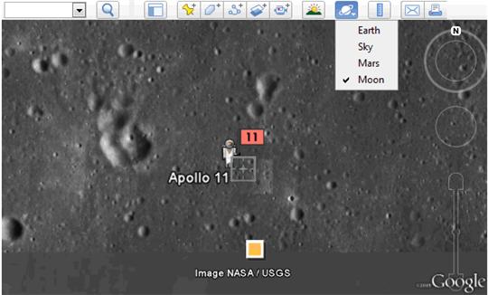 lune sur google earth