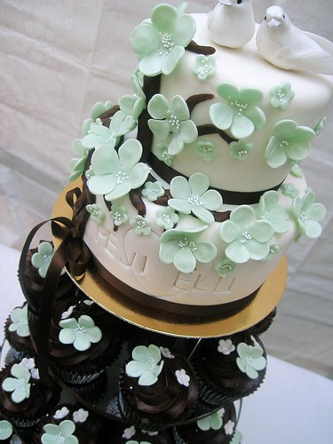 Pretty turquoise flowers this cake would work perfectly with the brown and