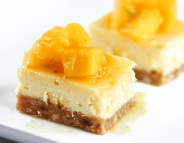 sophistimom – mango lime cheesecake bars with macadamia nut crust