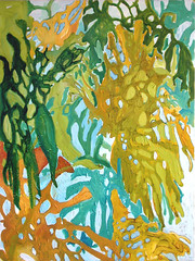 Rumble In The Jungle (Lost) (Julia L. Kay) Tags: plants plant green art leaves yellow painting paper leaf paint artist acrylic julia houseplant kunst kay foliage jungle expressionist tropical tropicalplant split philodendron tropicalplants splitleafphilodendron jungleplants splitleaf philodendrons jungleplant juliakay julialkay splitleafphilodendronleaves