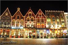 the Grote Markt, Bruges (Brugge) Exp#49 (Yavuz Alper) Tags: street building architecture night belgium belgique belgie brugge restaurants shops belçika brüj