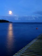 Night in Lauttasaari (blaahhi) Tags: sea moon night pier helsinki lauttasaari 1445mmkitlens panasoniclumixg1