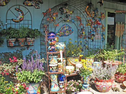 talavera pottery and accent pieces with plants
