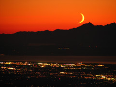 Sunset and the Crescent Moon over Puget Sound From Three Fingers