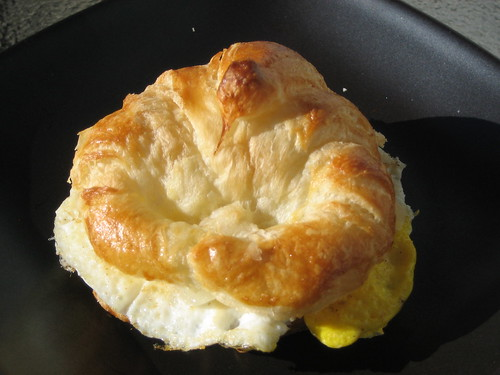 Trader Joe's Mini Croissant with a fried egg