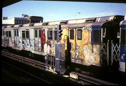 Old NYC graffti subway car by bernard chatreau