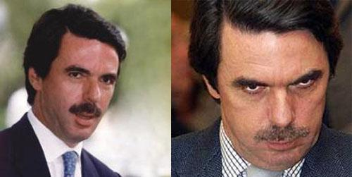 Fotografía del antes y el después de José María Aznar