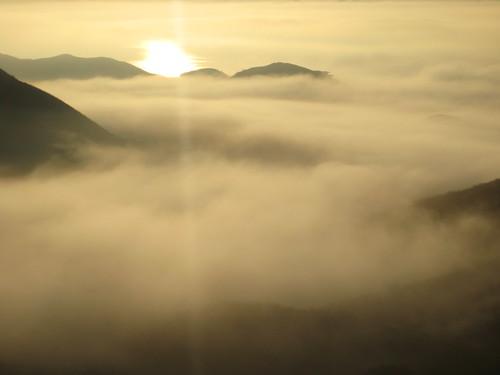 fog fills the canyon