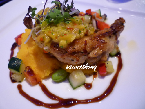 Rosemary Marinated Chicken Breast with Saffron Cheesy Mash Potato and Balsamic Reduction Mediterranean Vegetable in Mango Coriander Salsa Sauce