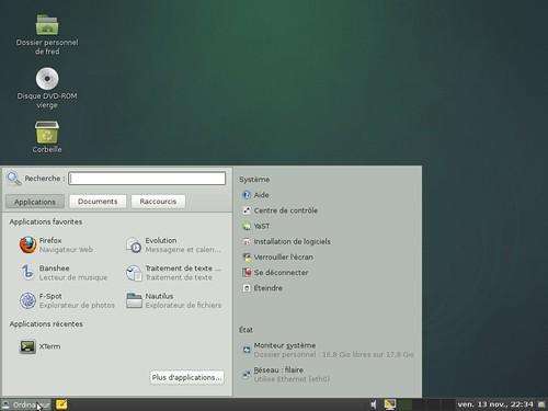 Le menu intelligent d'OpenSuSE 11.2 pour Gnome
