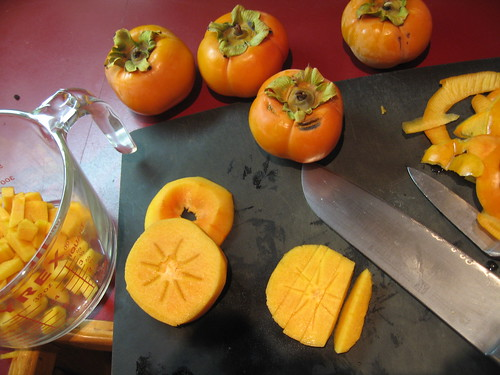 Chopping Fuyu Persimmons