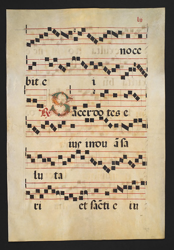 //Hymnal Leaf//, vellum 51 x 35 cm. Rome, before 1600. Six lines of four-stave music with Latin gothic script and illumination. Photograph by D Dunlop.