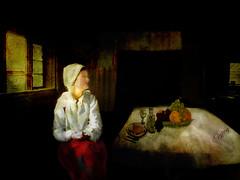 Moeet (Natalia Oliva) Tags: art ventana mujer arte kunst naranja mesa pintura bodegon uvas durazno toronja moeet