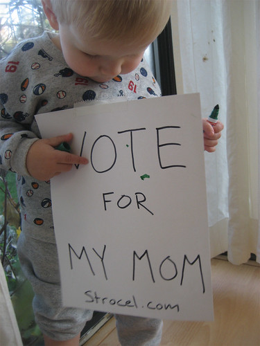 Jacob decorates the campaign sign