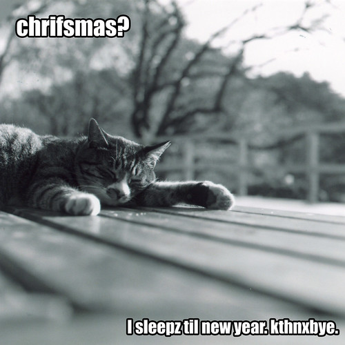 Chrifsmas? I sleepz til new year. kthnxbye. (by evil nickname)