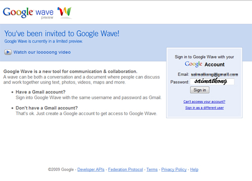 Invited to Google Wave