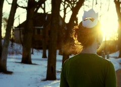 I know well what lies beyond my sleeping refuge (Day 160) (Allison Imagining) Tags: trees sunset house selfportrait snow forest bokeh breath papercrown goldenhour greensweater myfrontyard 365days stupidwinter bokehish myneighborshouse ihateitwhenmyhairgetsfrizzy hatsforhaitipicnik