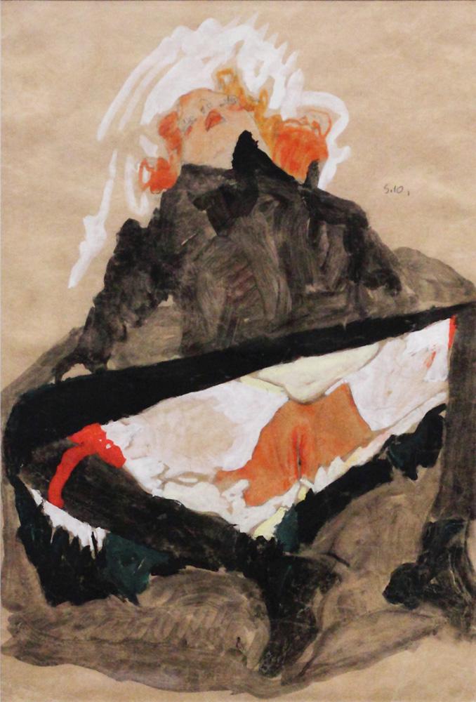 Egon Schiele, Rothaariges Mädchen in schwarzem Kleid mit gespreizten Beinen [Girl in Black Dress with Spread Legs], 1910