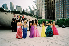 Chicago Belles (ho_hokus) Tags: wedding chicago dress 35mmfilm publicart weddingparty cloudgate thebean chinonbellami compactcamera weddingphotography dnpcenturia100 filmphotographypodcast chicago2011june