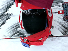 Who needs toe straps anyway... (Ruth and Dave) Tags: snowboard boot strap broken binding sunpeaks ruth