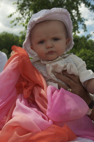 At the Lake, Amelia May wore her fathers christening outfit. And a chiffon scarf which we thought would make people think she was one of Michael Jacksons kids.