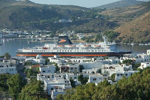 Patmos, Greece.  Our ship, the easyCruise Life