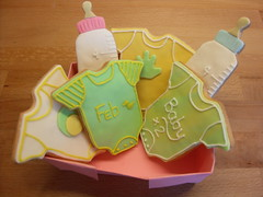 twin pregnancy cookies (purecakes (lizzie)) Tags: baby cookies twins bottles vests piping fondant pregancy onsies