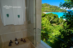 Shower view (Dan & Luiza from TravelPlusStyle.com) Tags: resort seychelles banyantreehotel