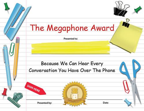 funny award certificates. Megaphone Funny Award