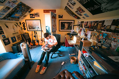 Euan's Room (TGKW) Tags: boy portrait people man home reading book bedroom desk room amp guitars player turntable heater posters record ayr euan leafing 3181 macbook