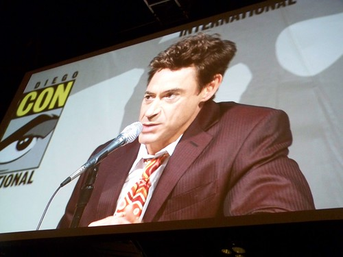 Robert Downey Jr. on the Sherlock Holmes panel at the Warner Brothers Presentation at San Diego Comic-Con International