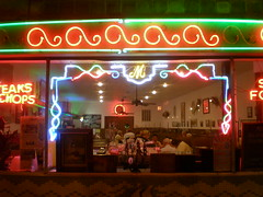 mayflower cafe, at night (edition_of_one) Tags: mississippi neon heaven diner jackson capitolstreet mayflowercafe bestcafeintheworld orderthegulfshrimp
