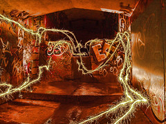 The-Mini-Tenth (MUG MAN) Tags: longexposure nightphotography blue red urban lightpainting color colour green beach wool silhouette painting underground fire graffiti pier exposure neon with purple grunge orb australia tunnel mini sparklers drain mug cave sparks drains cathode tenth photographyman manunderground paintingwithlighturban melbournelightpainter lightpaintingmelbourne