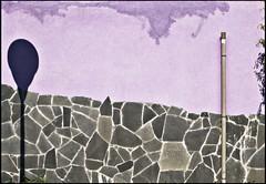 Mr. Gorbachov, tear down this wall! (Maerten Prins) Tags: shadow house water rain wall modern nijmegen purple stones fake minimal drain lamppost damage stains crusty lent