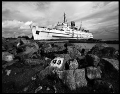 Duke of Lancaster 2 (a northernman) Tags: sea boat rust empty cruiseship rodinal derelict cruiseliner fujiacros ghostship pentax67 dukeoflancaster maryceleste justpentax fixedshadows leftinport