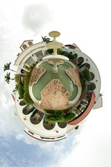 The X Fountain... (gadl) Tags: panorama fountain gimp projection planet handheld fontaine 360 sintmaarten stereographic hugin plante enblend mathmap stereographicprojection