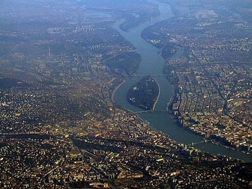 Budapest from airplane