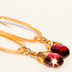 Garnet Bells with Brushed Gold Vermeil Ovals Handmade Earrings (NicolaYoon) Tags: scarlet cherry handmade jewelry earrings etsy oval garnet crimsonred modernvintage 24ktgoldvermeil 1000markets nicolayoondesign