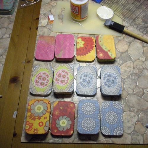 Mod Podged Altoid Tins in progress