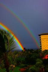 Departing Rainbow (Atmosphere 5) Tags: ocean two beach nature island hawaii rainbow wildlife maui double exot