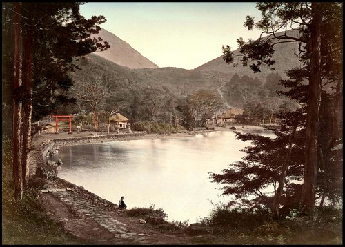 SITTING ON THE SHORE OF LAKE ASHI NEAR HAKONE VILLAGE in OLD 1880s JAPAN