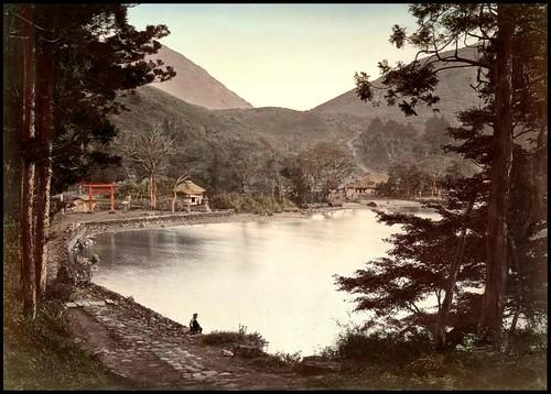 SITTING ON THE SHORE OF LAKE ASHI NEAR HAKONE VILLAGE in OLD 1880s JAPAN