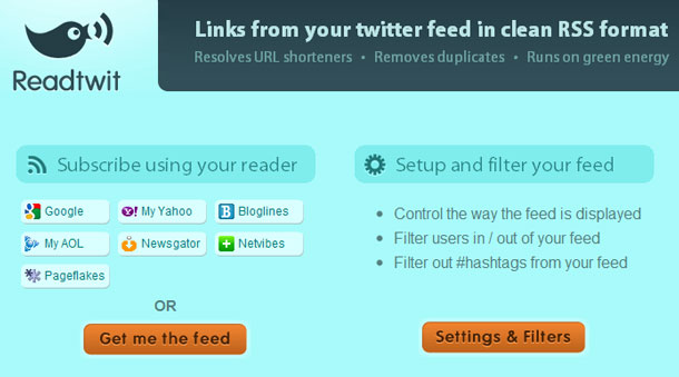 ReadTwit: All the Links From Your Twitter Stream in A Filtered RSS Feed