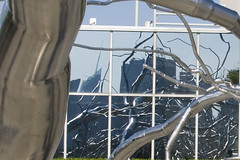 Maelstrom  Reflection (Katy Silberger) Tags: stainlesssteel centralpark themet metropolitanmuseumofart maelstrom modernsculpture roxypaine nikond60 irisandbgeraldcantorroofgarden newygeraorkcity metmoment
